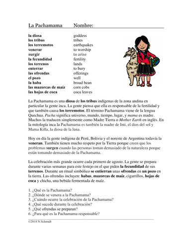 La Pachamama Lectura y Cultura: Spanish Cultural Reading (Inca)