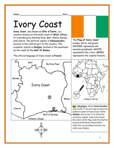IVORY COAST - Printable handout on bujumbura map, algiers map, sana'a map, juba map, baga, nigeria map, greenwich mean time zone map, yaounde map, mbabane map, mande people map, vatican city map, zimbabwe map, africa map, kabul map, ankara map, bloemfontein map, timbuktu map, life map, reykjavik map, man map, bratislava map,
