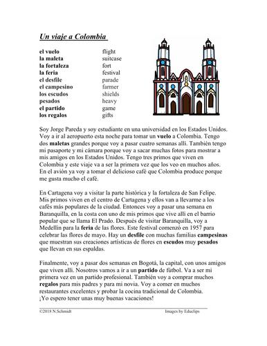 Viaje a Colombia Lectura: Viaje / Feria de Flores / Cartagena (SUB PLAN)
