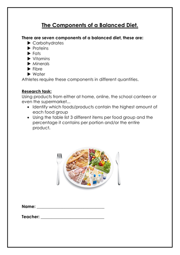 Health, Fitness & Well-Being (Diet homework)