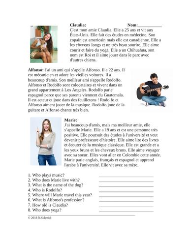 Mes Amis Lecture en Français: French Reading On Friends
