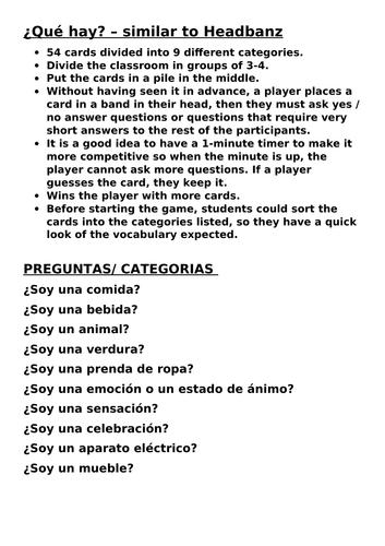 End of year activity game ¿Qué hay? – similar to Headbanz
