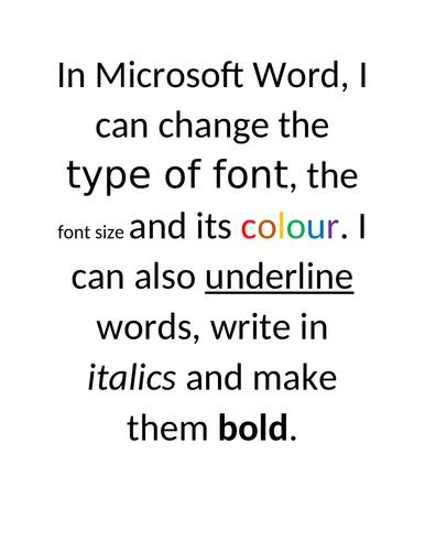 Idea for Demonstrating Editing skills in Microsoft Word