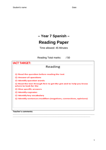 Y7 Spanish Reading Exam End of Read (Mira)