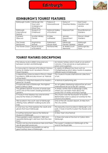 UK Travel and Tourism Destinations - Edinburgh Worksheet