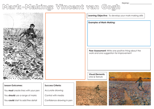 Vincent van Gogh - Mark Making Worksheet