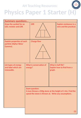 Physics Paper 1 Starter