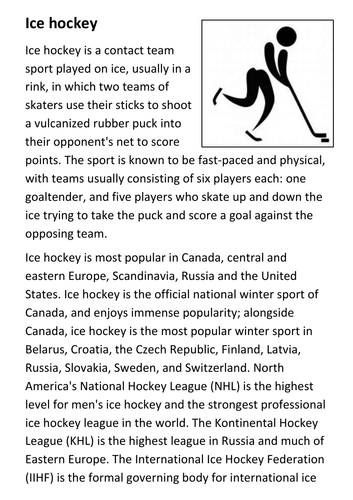 Ice hockey Handout