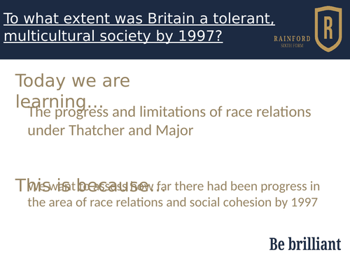 AQA 7042 Britain 2S - Race relations and tolerance by 1997