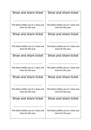 Show and Tell tickets