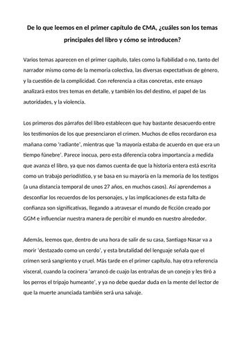Example essay on the key themes of Crónica de una Muerte Anunciada by García Márquez