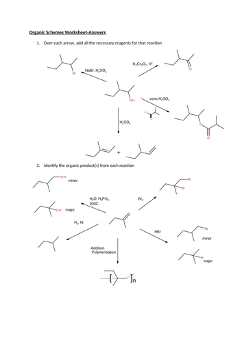Organic Reaction Pathways. Worksheet with answers
