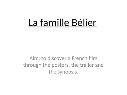 La Famille Bélier - French film study