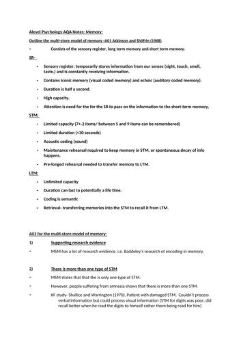 AQA Alevel Psychology Memory Notes