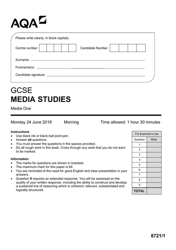 AQA GCSE Media Studies PAPER 1 Mock (Set 1)