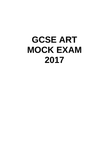 Year 11 Art Mock Exam