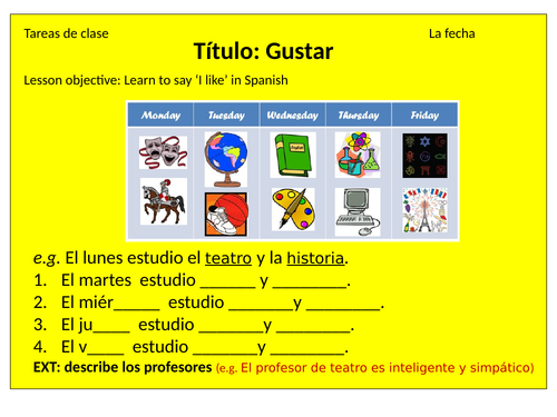 KS3 lesson on gustar