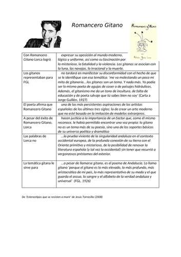Worksheet about Romancero Gitano by Lorca