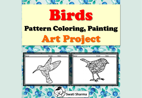 Birds, Pattern Coloring, Painting, Art Project