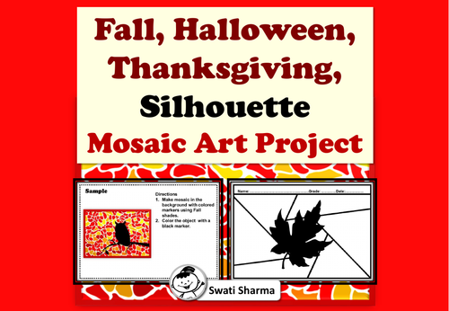 Fall, Halloween, Thanksgiving, Silhouette, Mosaic Art Project