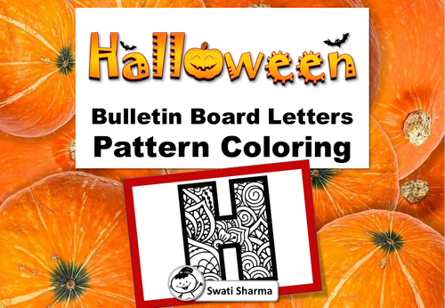Halloween Banner, Bulletin Board Letters, for Pattern Coloring