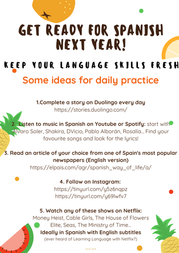 Spanish - Transition to A Level - Year 11 into Year 12 by