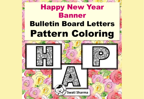 Happy New Year Bulletin Board Letters, Pattern Coloring