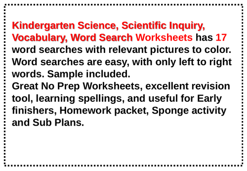 Kindergarten Science, Scientific Inquiry, Vocabulary, Word Search Worksheets