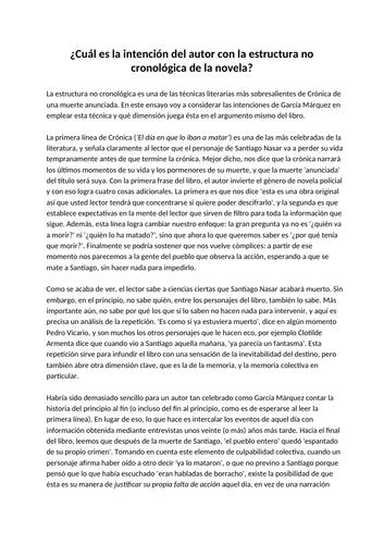Example essay on non-chronological structure of Crónica de una Muerte Anunciada by García Márquez