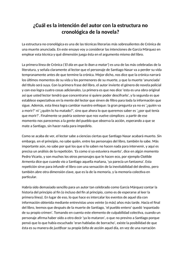 Example Essay On Non Chronological Structure Of Crónica De