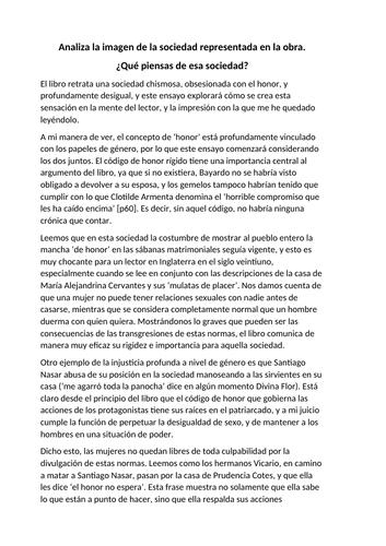 Essay on the representation of society in Crónica de una Muerte Anunciada