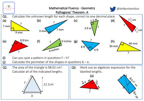 Pythagoras' Theorem Hypotenuse Lengths - Reasoning: Perimeter, Area of triangle, Algebraic expansion