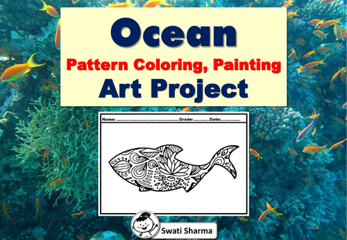Ocean Pattern Coloring, Painting Art Project