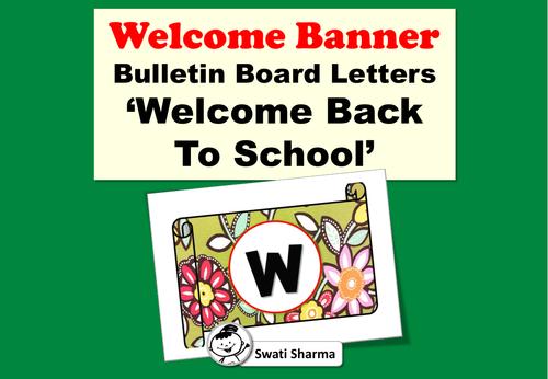 Bulletin Board Letters, Welcome Back To School