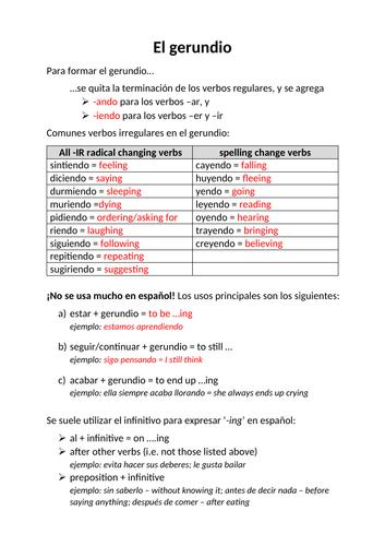 Worksheet on the gerund in Spanish