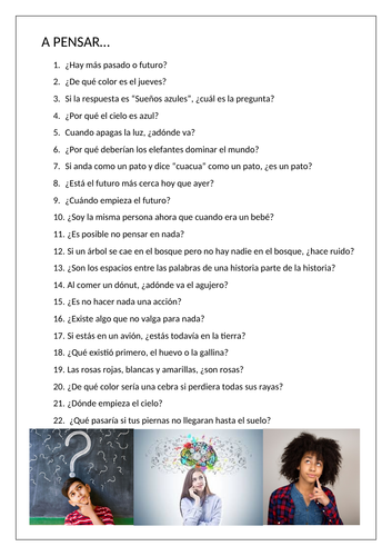 Spanish A Level: Thunk Questions (speaking, thinking skills)