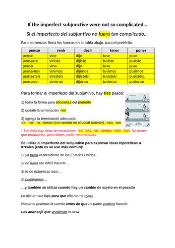 Grammar worksheet for Alevel Spanish students on the imperfect subjunctive