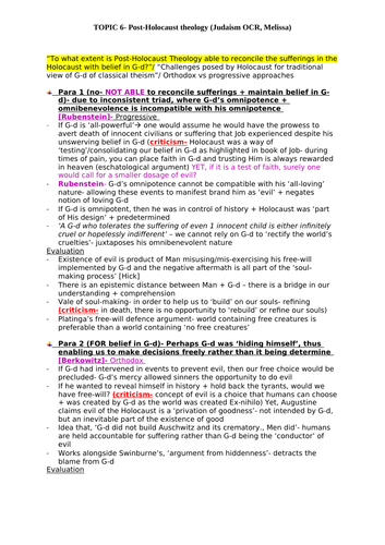OCR A Level RS Judaism- Post Holocaust Theology  essay plans