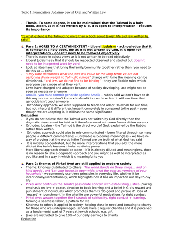 OCR A Level- Topic 1, Foundations Judaism- Jewish Oral and Written Law essay plans
