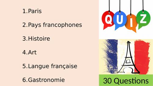 Enf of year French Quiz