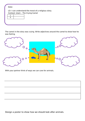 Crying Camel Worksheet RE Islam  EYFS/KS1 Looking after animals