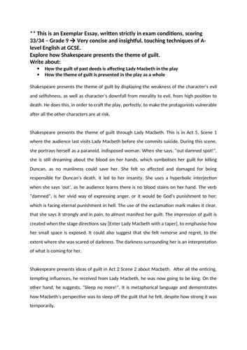 AQA GCSE English LIterature Macbeth A** Essay