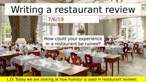 2 lessons on reading and writing restaurant review. Ideal for KS3.