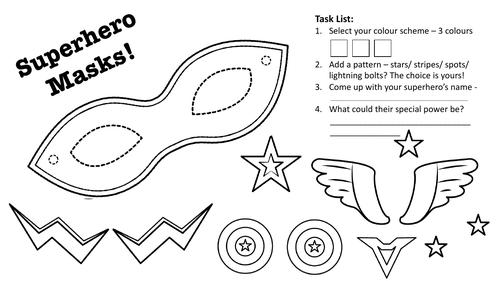 Superhero Mask Worksheet