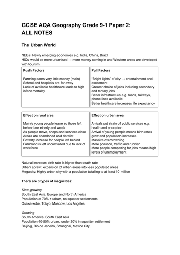 GCSE AQA Geography Grade 9-1 Paper 2 ALL REVISION NOTES