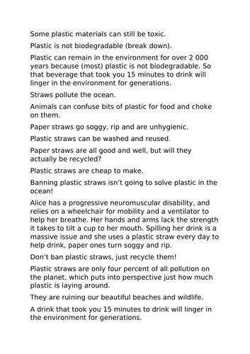 Should plastic straws be banned? KS1 plastic pollution
