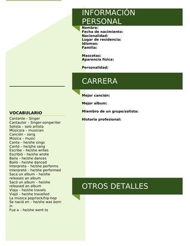 Spanish Singer Profile Task