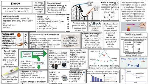 KS3 ENERGY Knowledge Organiser/ Revision Mat
