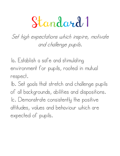 Teachers' Standards Title Pages for Folders
