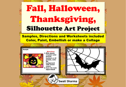 Fall, Halloween, Thanksgiving, Sunset Silhouette Art Project